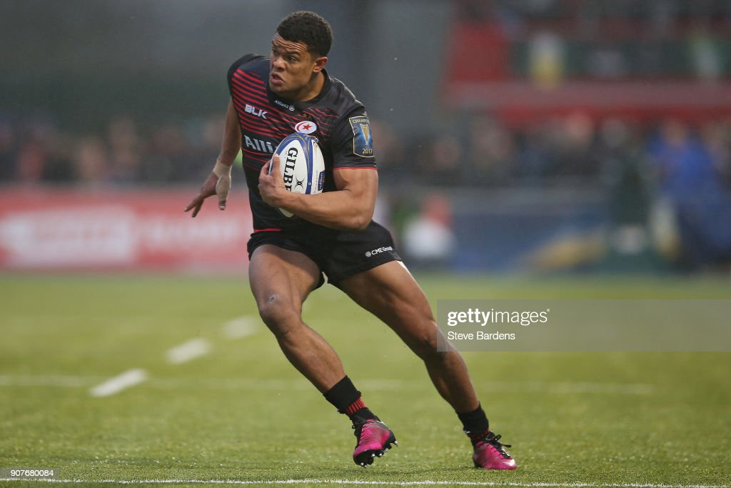 Nathan Earle of Saracens in action during the European Rugby Champions Cup match between Saracens and Northampton Saints at Allianz Park on January 20, 2018 in Barnet, England.