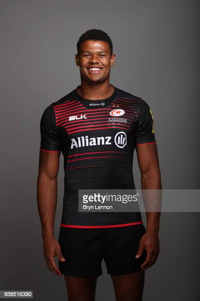 Nathan Earle of Saracens poses during a photocall at Allianz Park on August 21 2017 in Barnet England