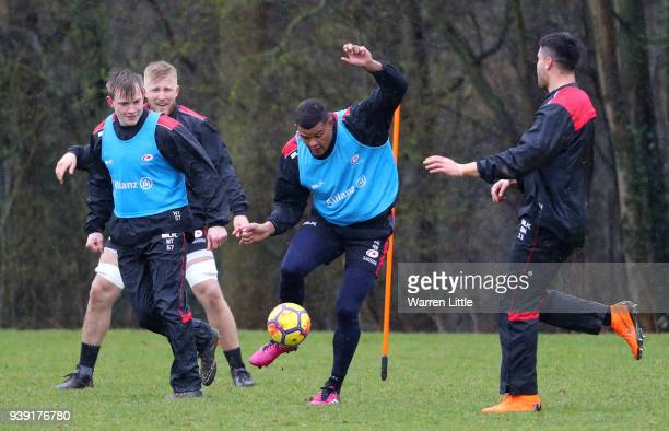 Nathan Earle of Saracens trains during a Saracens Media Session on March 28 2018 in St Albans England