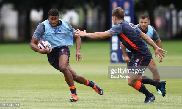 Nathan Earle runs with the ball during the England training session at the Lensbury Club on August 7 2017 in Teddington England