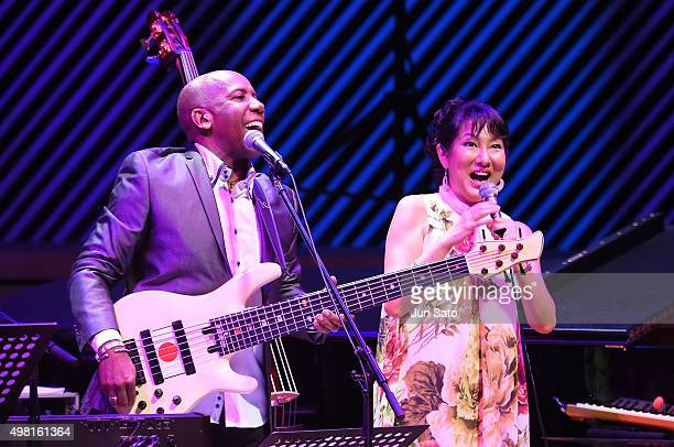 Nathan East and Hiroko Kokubu perform during Kawasaki Jazz on November 21 2015 in Kawasaki Japan