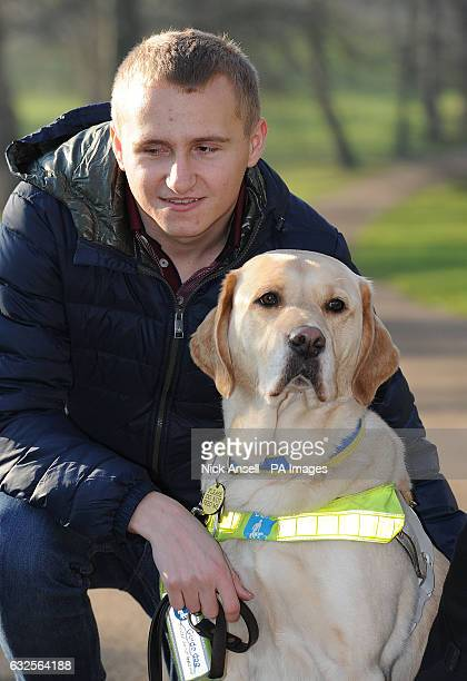 Nathan Edge from North Hykeham Lincolnshire with Hudson his Labrador Retriever guide dog who is one of the Friends for Life dog hero finalists at the...