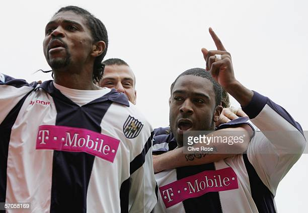 Nathan Ellington and Nwankwo Kanu celebrate the equalising goal during the Barclays Premiership match between Birmingham City and West Bromwich...