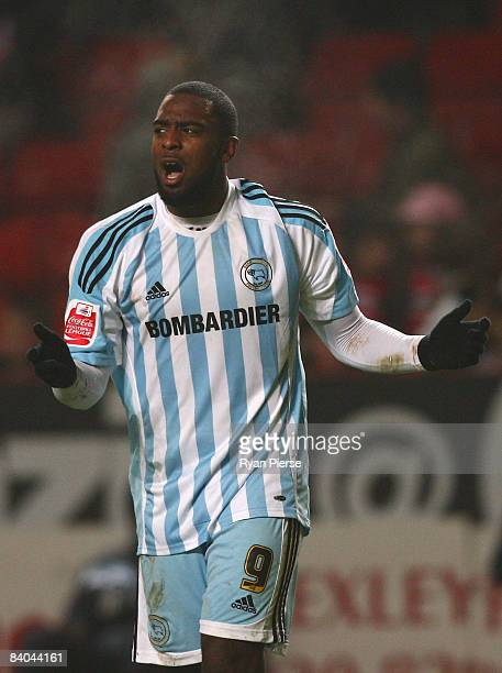 Nathan Ellington of Derby celebrates after scoring his team's second and equalizing goal during the Coca Cola Championship match between Charlton...