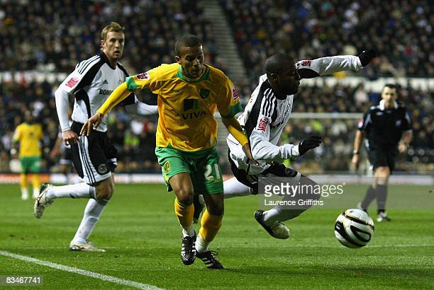 Nathan Ellington of Derby County battles with Ryan Bertrand of Norwich City during the Coca-Cola Championship match between Derby County and Norwich...