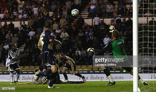 Nathan Ellington of Derby County puts his sides second goal in extra time duing the Carling Cup Round One match between Derby County and Lincoln City...