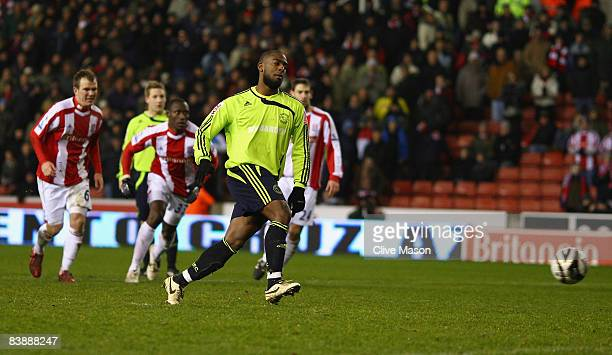 Nathan Ellington of Derby County shoots and scores a penalty during the Carling Cup quarter final match between Stoke City and Derby County at the...