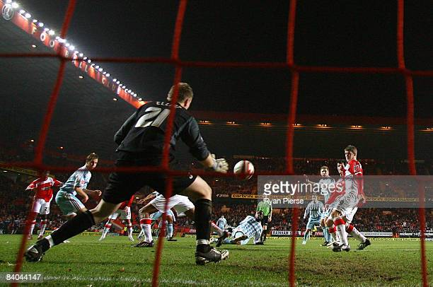 Nathan Ellington of Derby scores his team's second and equalizing goal during the Coca Cola Championship match between Charlton Athletic and Derby...