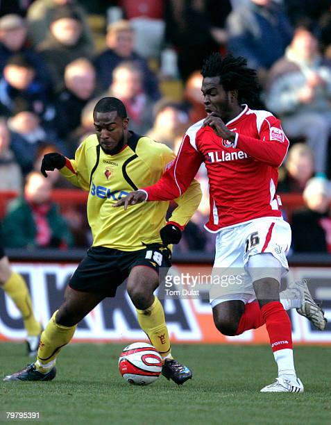 Nathan Ellington of Watford and Kelly Youga of Charlton Athletic in action during the Coca-Cola Championship match between Charlton Athletic and...