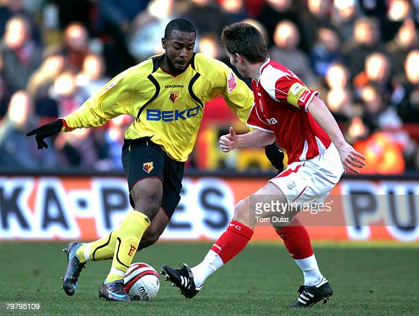 Nathan Ellington of Watford and Matt Holland of Charlton Athletic in action during the Coca-Cola Championship match between Charlton Athletic and...