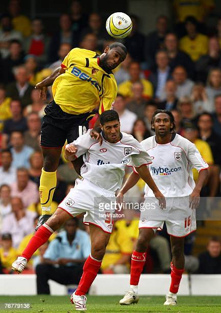 Nathan Ellington of Watford and Youssef Safri of Southampton in action during the Coca-Cola Championship match between Watford and Southampton at...