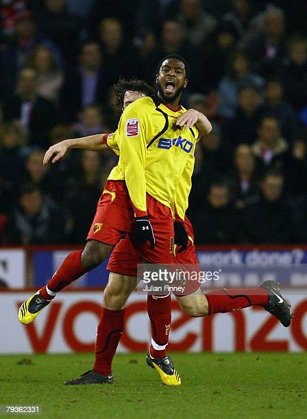 Nathan Ellington of Watford celebrates scoring the first goal during the Coca-Cola Championship match between Sheffield United and Watford at Bramall...
