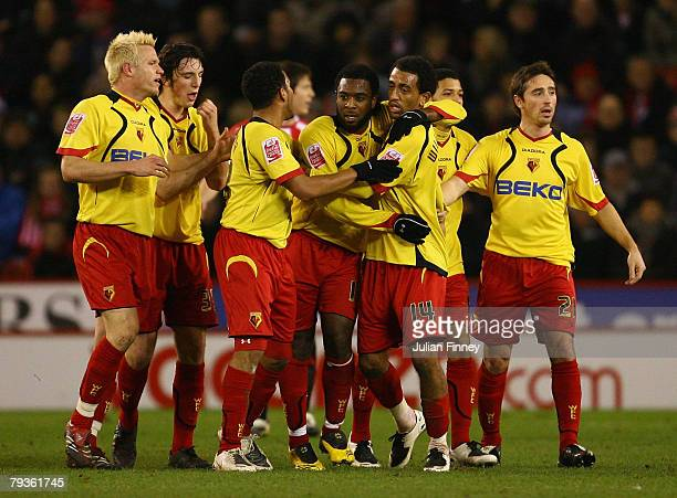 Nathan Ellington of Watford celebrates scoring the first goal with team mates during the Coca-Cola Championship match between Sheffield United and...