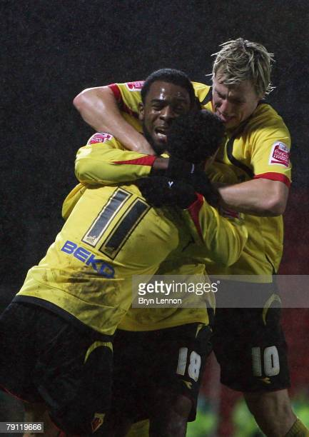 Nathan Ellington of Watford celebrates with his team mate after scoring during the CocaCola Championship match between Watford and Charlton Athletic...