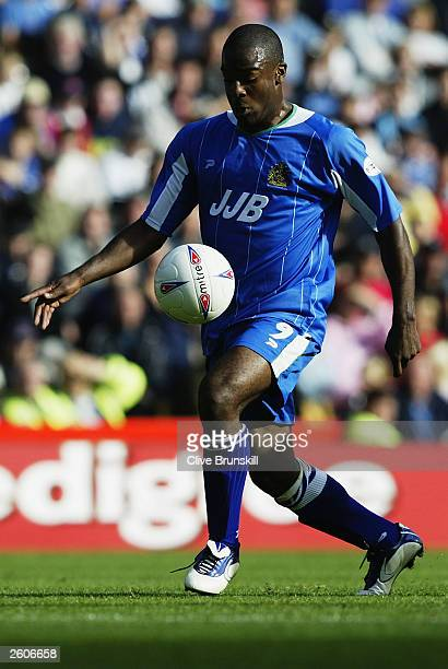 Nathan Ellington of Wigan Athletic takes cotrol of the ball during the Nationwide League Division One match between Derby County and Wigan Athletic...