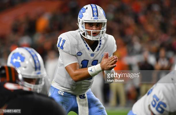Nathan Elliott of the North Carolina Tar Heels in action against the Miami Hurricanes at Hard Rock Stadium on September 27 2018 in Miami Florida