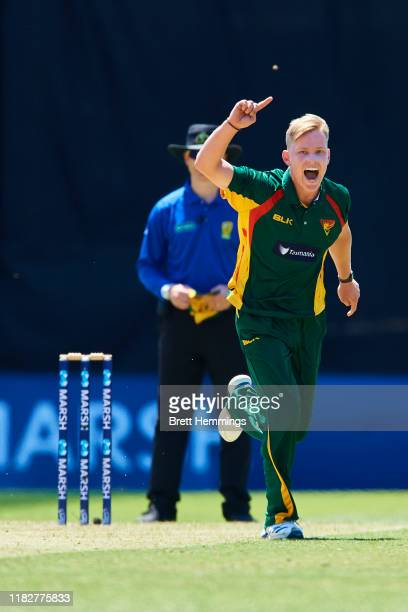 Nathan Ellis of Tasmania celebrates after taking the wicket of Pat Cummins of the NSW during the Marsh One Day Cup match between New South Wales and...