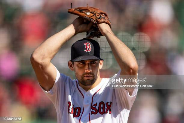 Nathan Eovaldi of the Boston Red Sox delivers during the first inning of a game against the New York Yankees on September 29 2018 at Fenway Park in...