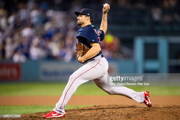 Nathan Eovaldi of the Boston Red Sox delivers during the thirteenth inning of game three of the 2018 World Series against the Los Angeles Dodgers on...