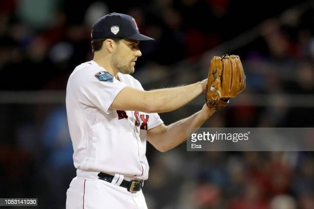 Nathan Eovaldi of the Boston Red Sox delivers the pitch during the eighth inning against the Los Angeles Dodgers in Game Two of the 2018 World Series...