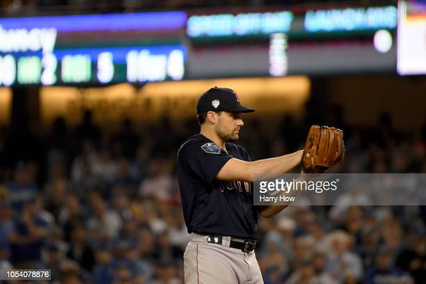 Nathan Eovaldi of the Boston Red Sox delivers the pitch during the fifteenth inning against the Los Angeles Dodgers in Game Three of the 2018 World...