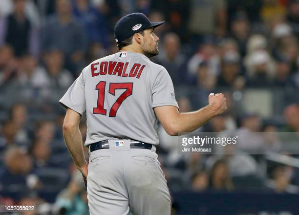 Nathan Eovaldi of the Boston Red Sox in action against the New York Yankees in Game Three of the American League Division Series at Yankee Stadium on...