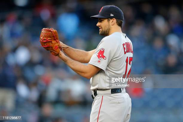 Nathan Eovaldi of the Boston Red Sox in action against the New York Yankees at Yankee Stadium on April 17 2019 in the Bronx borough of New York City...