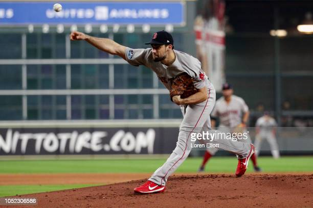 Nathan Eovaldi of the Boston Red Sox pitches during Game 3 of the ALCS against the Houston Astros at Minute Maid Park on Tuesday October 16 2018 in...
