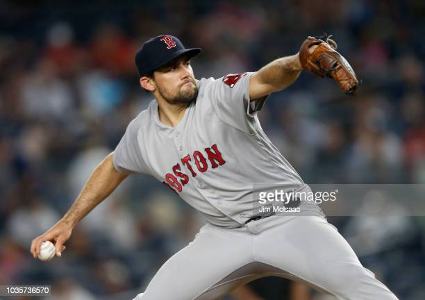 Nathan Eovaldi of the Boston Red Sox pitches during the first inning against the New York Yankees at Yankee Stadium on September 18 2018 in the Bronx...