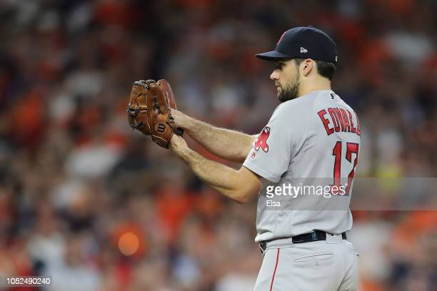 Nathan Eovaldi of the Boston Red Sox pitches in the eighth inning against the Houston Astros during Game Five of the American League Championship...