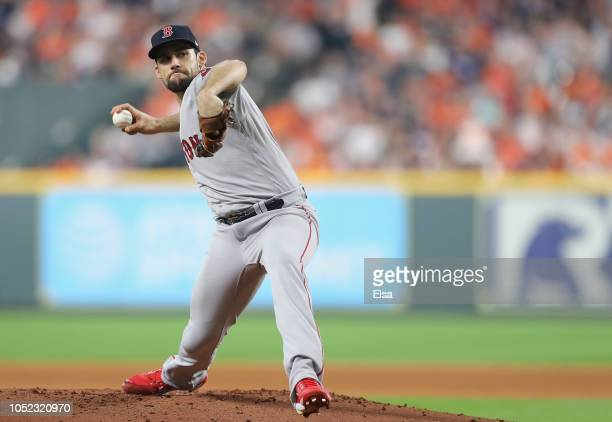 Nathan Eovaldi of the Boston Red Sox pitches in the first inning against the Houston Astros during Game Three of the American League Championship...