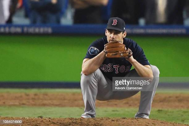 Nathan Eovaldi of the Boston Red Sox reacts after allowing a thirteenth inning run to the Los Angeles Dodgers in Game Three of the 2018 World Series...