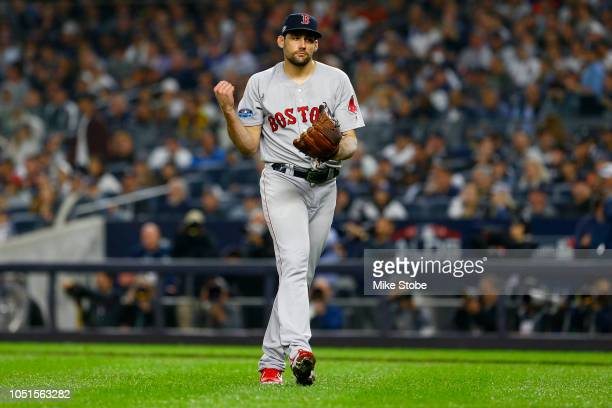 Nathan Eovaldi of the Boston Red Sox reacts against the New York Yankees in Game Three of the American League Division Series at Yankee Stadium on...
