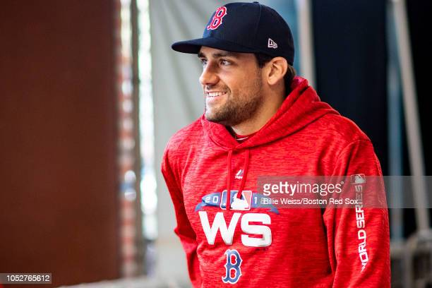 Nathan Eovaldi of the Boston Red Sox reacts during a workout before the 2018 World Series on October 22 2018 at Fenway Park in Boston Massachusetts