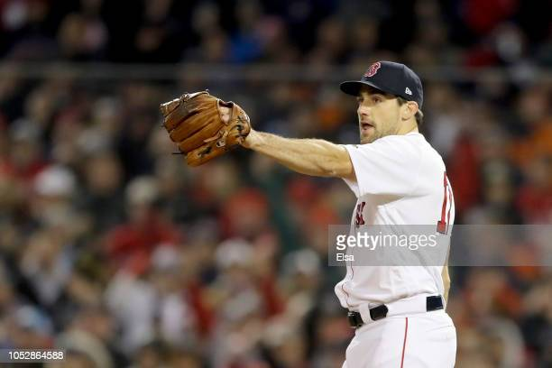 Nathan Eovaldi of the Boston Red Sox reacts during the eighth inning against the Los Angeles Dodgers in Game One of the 2018 World Series at Fenway...