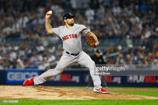 Nathan Eovaldi of the Boston Red Sox throws a pitch against the New York Yankees during the first inning in Game Three of the American League...