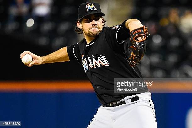 Nathan Eovaldi of the Miami Marlins throws a pitch during a game against the New York Mets on September 16 2014 at Citi Field in the Flushing...
