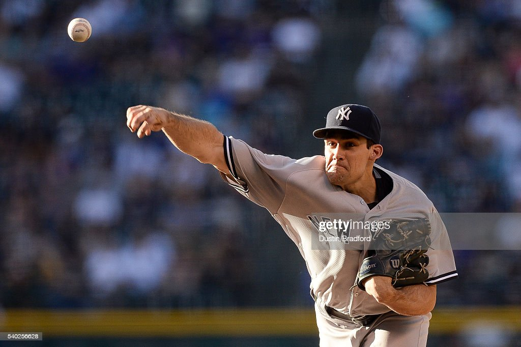 Nathan Eovaldi #30 of the New York Yankees pitches against the Colorado Rockies in the first inning during a regular season interleague game at Coors Field on June 14, 2016 in Denver, Colorado.