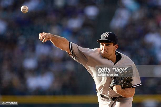 Nathan Eovaldi of the New York Yankees pitches against the Colorado Rockies in the first inning during a regular season interleague game at Coors...