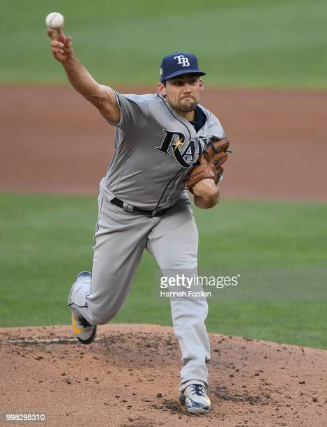 Nathan Eovaldi of the Tampa Bay Rays delivers a pitch against the Minnesota Twins during the first inning of the game on July 13 2018 at Target Field...