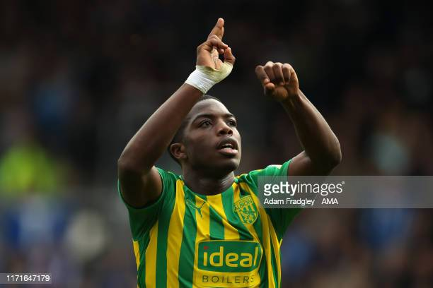 Nathan Ferguson of West Bromwich Albion celebrates after scoring a goal to make it 01 during the Sky Bet Championship match between Queens Park...