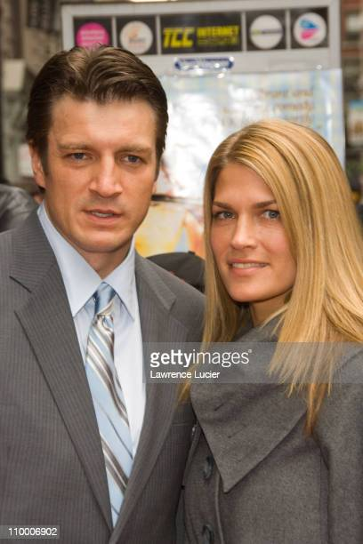 Nathan Fillion and guest during 6th Annual Tribeca Film Festival Premiere of Waitress Red Carpet at AMC Loews Theater in New York City New York...