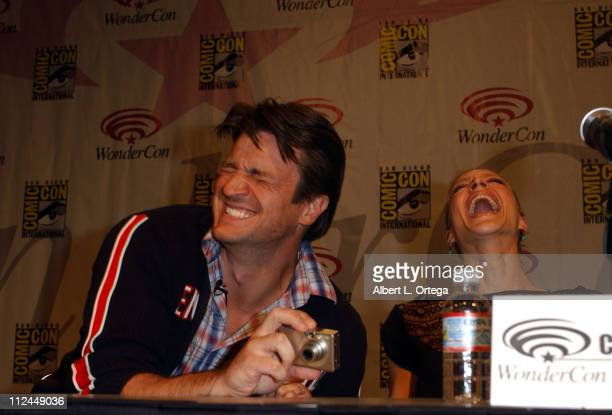 Nathan Fillion and Kristen Lehman during 2007 WonderCon Day 3 at Moscone Center South in San Francisco CA United States