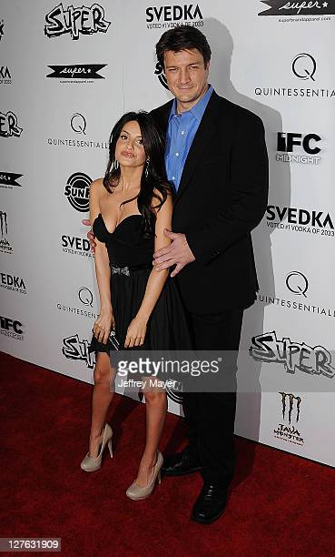 Nathan Fillion and Mikaela Hoover attend the Super Los Angeles Premiere at the Egyptian Theatre on March 21 2011 in Hollywood California
