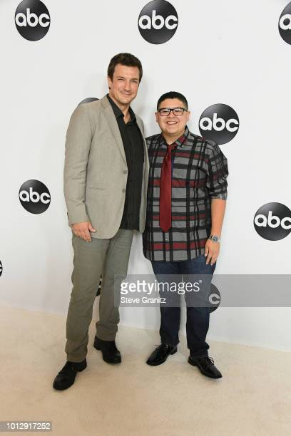 Nathan Fillion and Rico Rodriguez attend the Disney ABC Television TCA Summer Press Tour at The Beverly Hilton Hotel on August 7 2018 in Beverly...