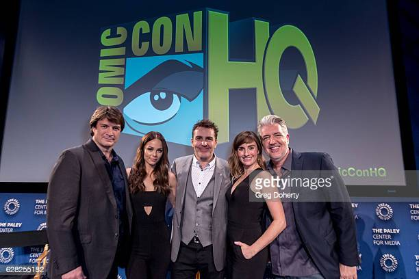 Nathan Fillion Laura Vandervoort Nolan North Alison Haislip and PJ Haarsma attend the Winter Series Showcase Of ComicCon HQ Premiere Of 'Con Man'...
