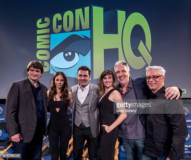 Nathan Fillion Laura Vandervoort Nolan North Alison Haislip PJ Haarsma and the moderator attend the Winter Series Showcase Of ComicCon HQ Premiere Of...