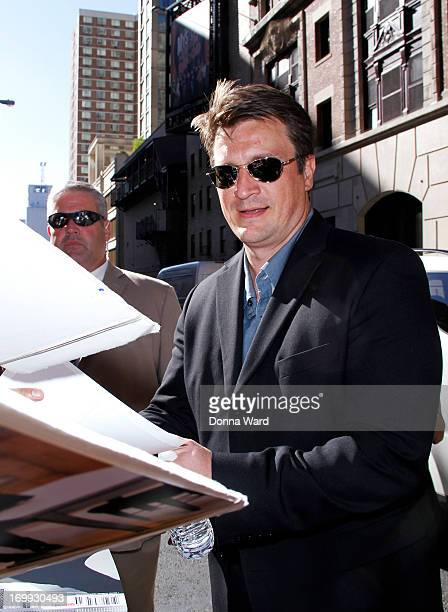 Nathan Fillion leaves the Late Show with David Letterman at Ed Sullivan Theater on June 4 2013 in New York City