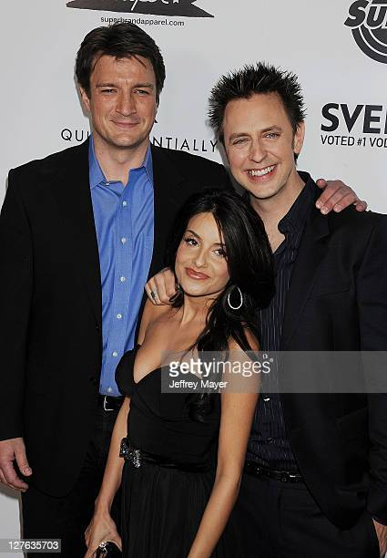 Nathan Fillion Mikaela Hoover and James Gunn attend the Super Los Angeles Premiere at the Egyptian Theatre on March 21 2011 in Hollywood California
