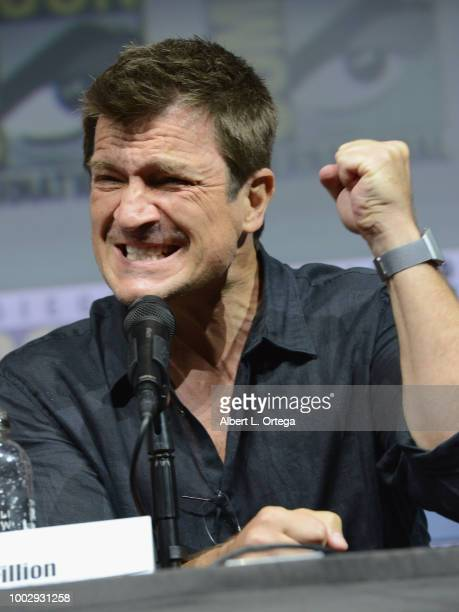 Nathan Fillion speaks onstage at 'Dr Horrible's SingAlong Blog' Reunion during ComicCon International 2018 at San Diego Convention Center on July 20...